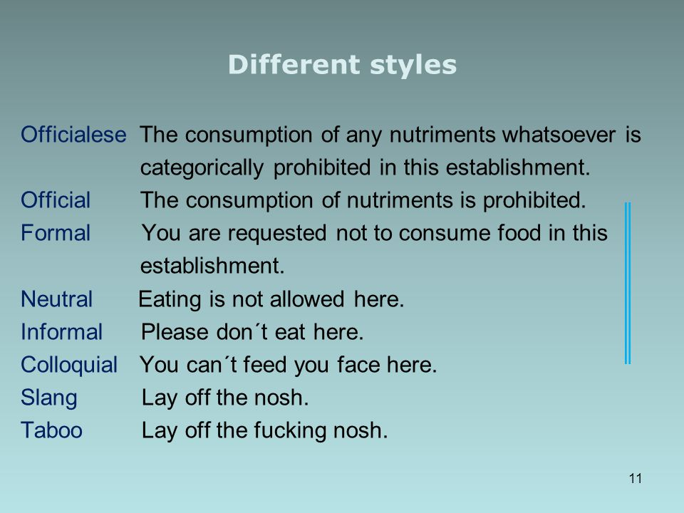 Different styles Officialese The consumption of any nutriments whatsoever is categorically prohibited in this establishment.