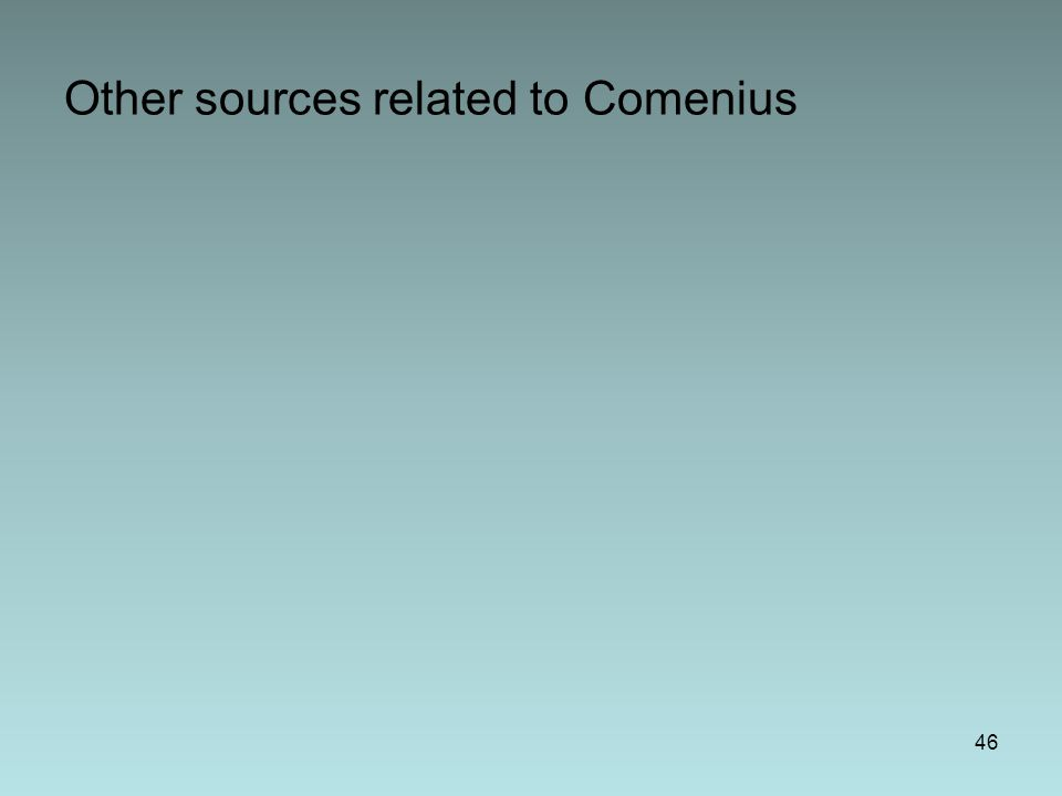Other sources related to Comenius 46