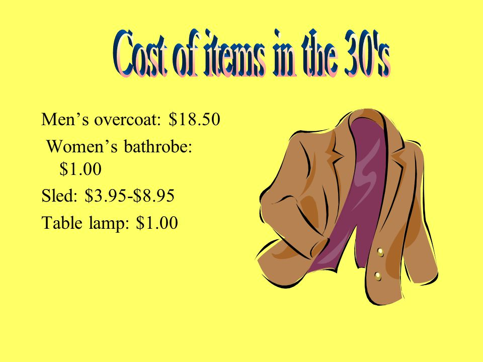 Men's overcoat: $18.50 Women's bathrobe: $1.00 Sled: $3.95-$8.95 Table lamp: $1.00