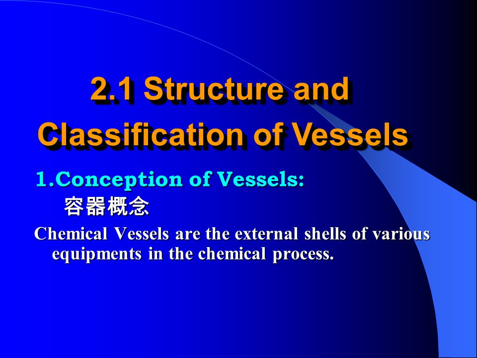 1.Thin-walled vessels 薄壁容器 (1)Thin-walled vessels: S / D i < 0.1 (D o / D i = K < 1.2) (2) Thick-walled vessels: S / D i ≥ 0.1 2.stress characteristics: There are always two kinds of stress in pressure vessels.