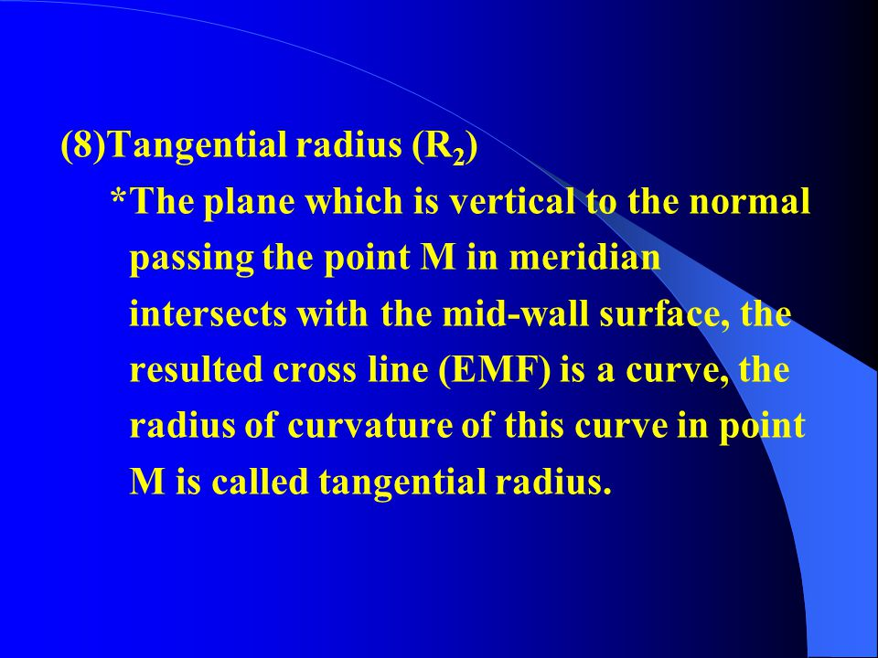 (7)Longitudinal radius (R 1 ) *The radius of curvature of meridian which passes point M in midwall surface is called the longitudinal radius of point