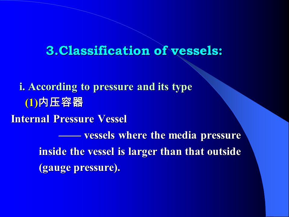 3.Classification of vessels: 3.Classification of vessels: i.