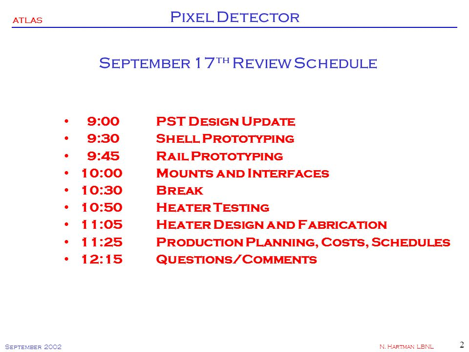 ATLAS Pixel Detector September 2002 N.