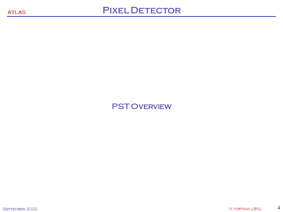 ATLAS Pixel Detector September 2002 N. Hartman LBNL 4 PST Overview