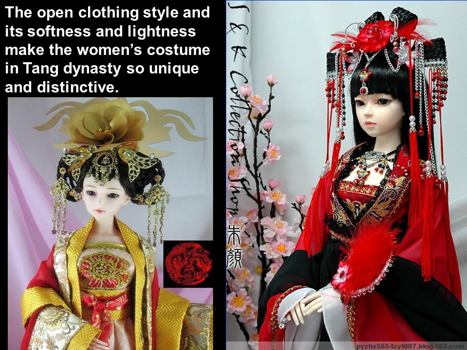 The open clothing style and its softness and lightness make the women's costume in Tang dynasty so unique and distinctive.