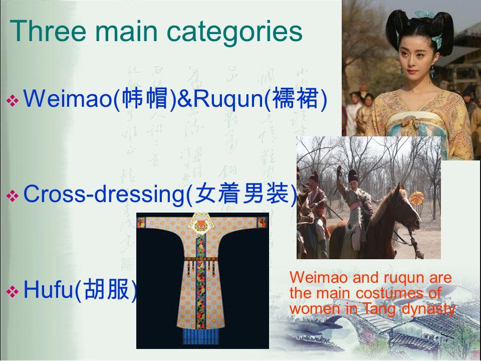 Three main categories  Weimao( 帏帽 )&Ruqun( 襦裙 )  Cross-dressing( 女着男装 )  Hufu( 胡服 ) Weimao and ruqun are the main costumes of women in Tang dynasty
