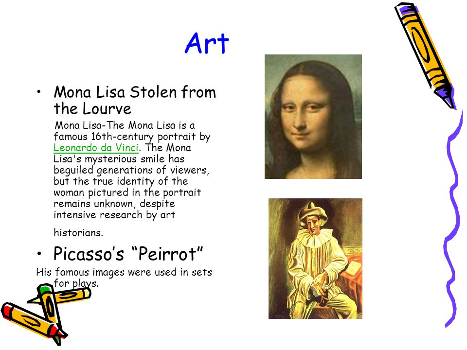Art Mona Lisa Stolen from the Lourve Mona Lisa-The Mona Lisa is a famous 16th-century portrait by Leonardo da Vinci.