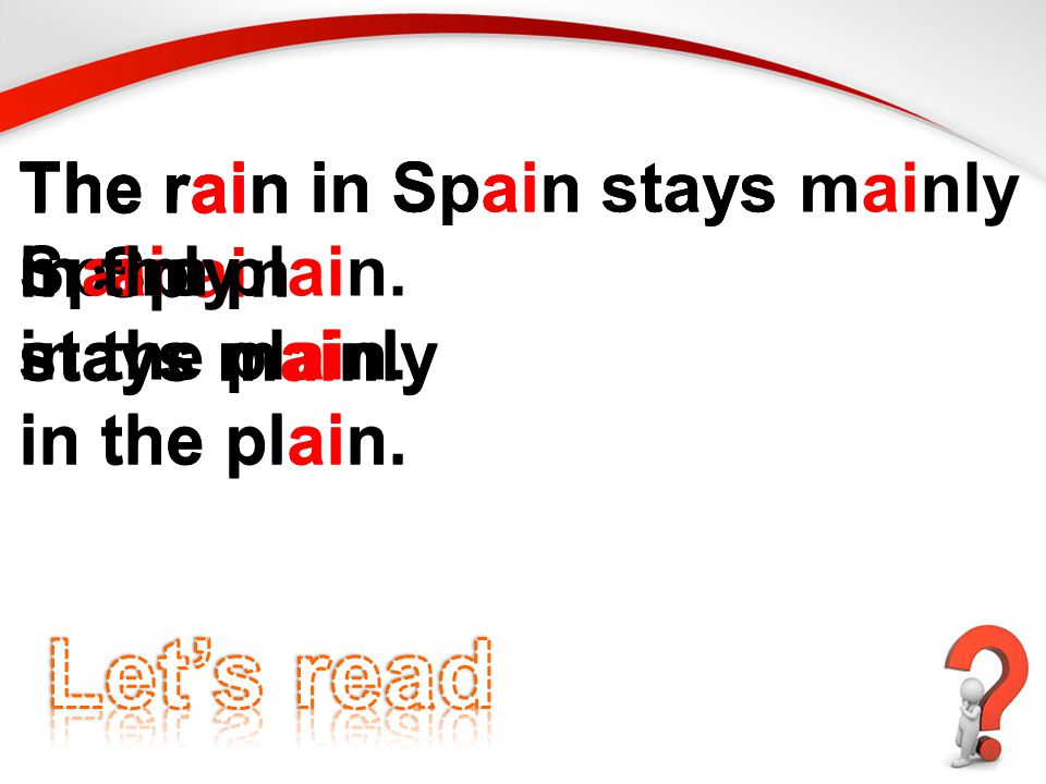 The rain in Spain stays mainly in the plain.The rain in Spain stays mainly in the plain.