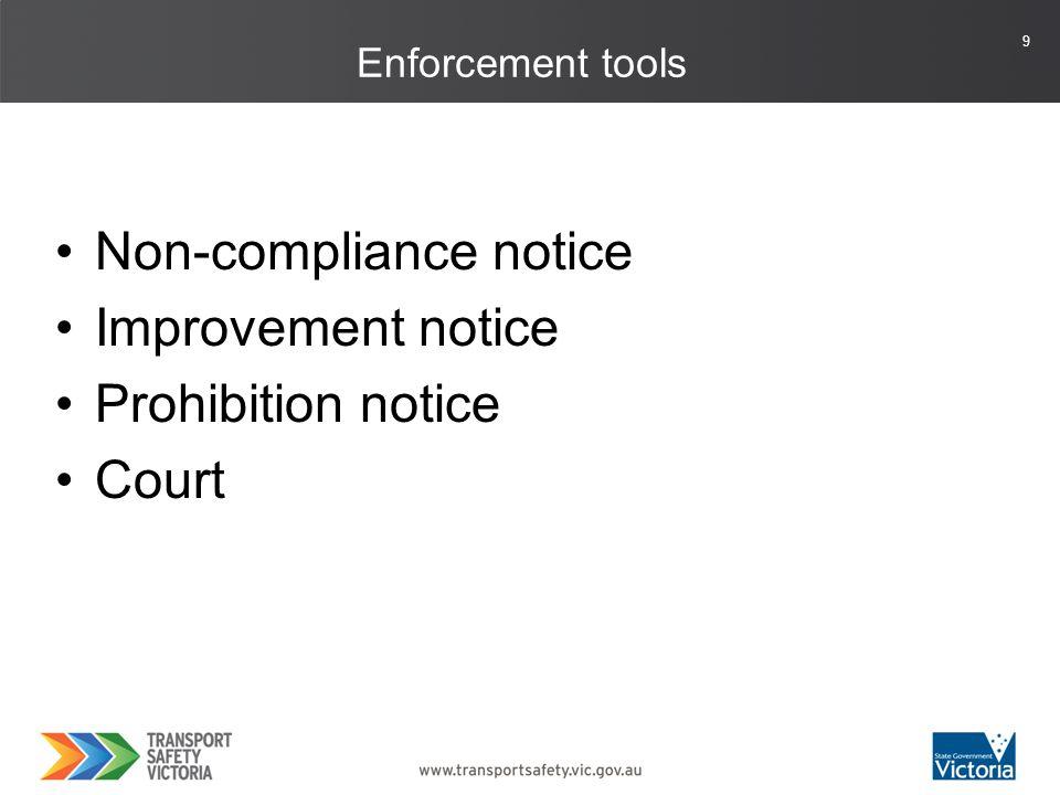 9 Enforcement tools Non-compliance notice Improvement notice Prohibition notice Court