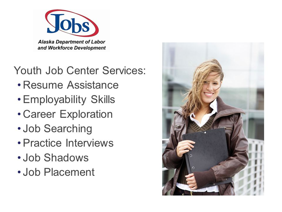 Youth Job Center Services: Resume Assistance Employability Skills Career Exploration Job Searching Practice Interviews Job Shadows Job Placement