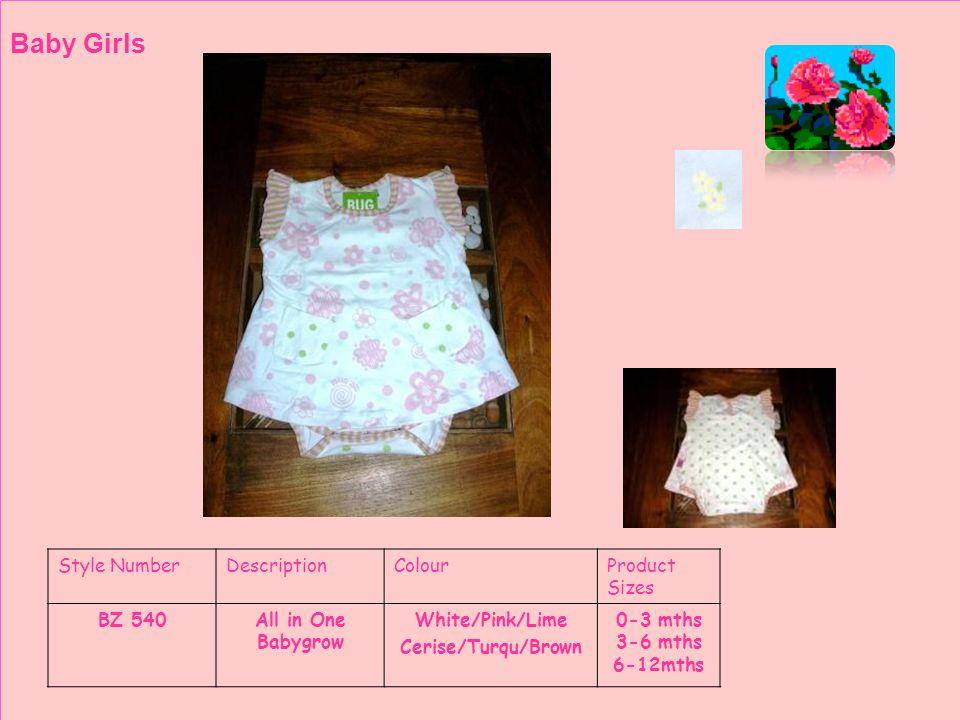 Style NumberDescriptionColourProduct Sizes BZ 568CardiTurqu White Baby Girls