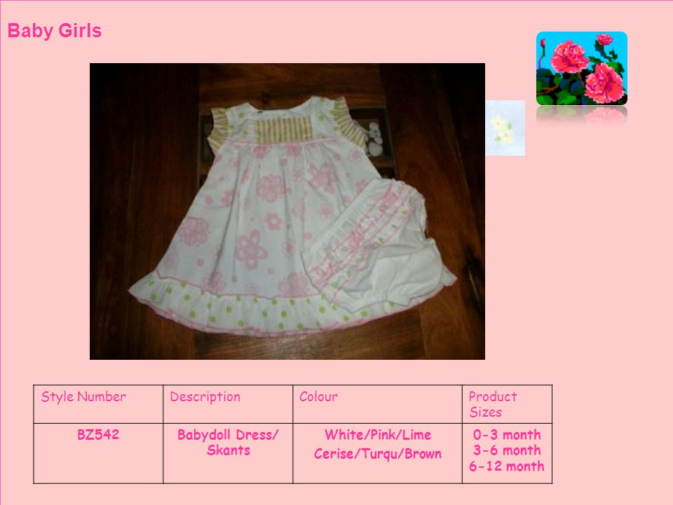 Style NumberDescriptionColourProduct Sizes BZ 559Swing TopWhite/Pink/Lime Cerise/Turqu/Brown Toddler Girls