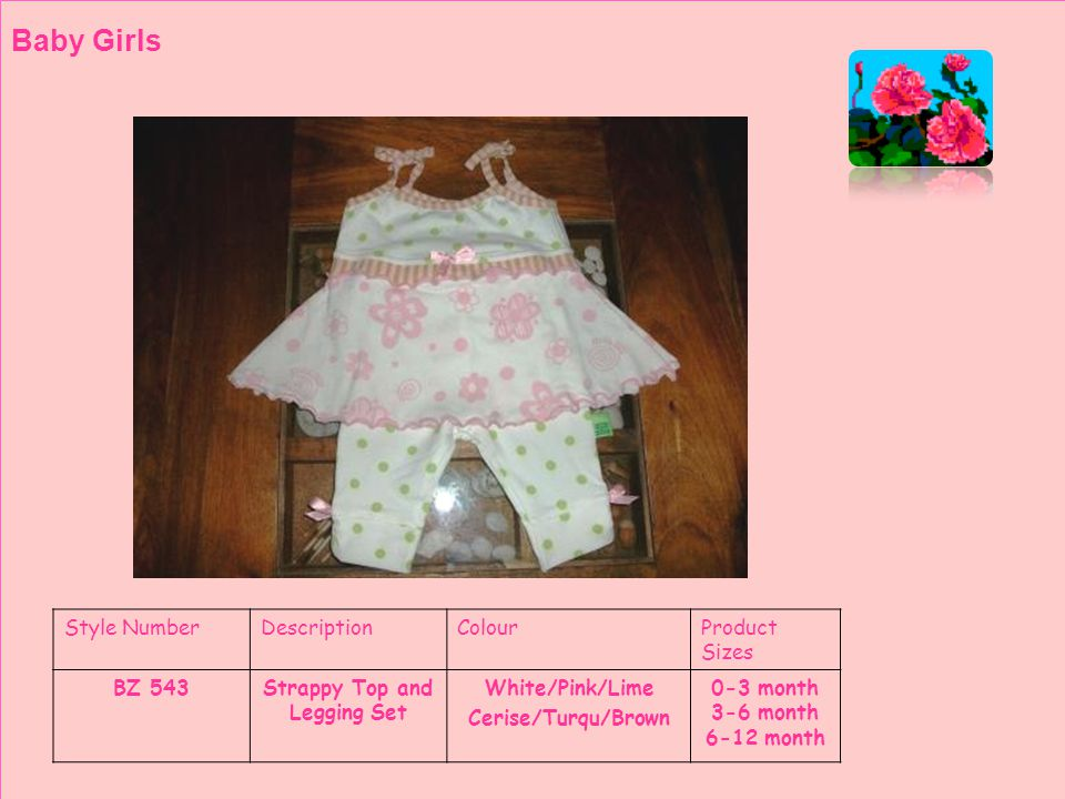 Style NumberDescriptionColourProduct Sizes BZ 544Babydoll TopWhite/Pink/Lime Cerise/Turqu/Brown 0-3 month 3-6 month 6-12 month Baby Girls