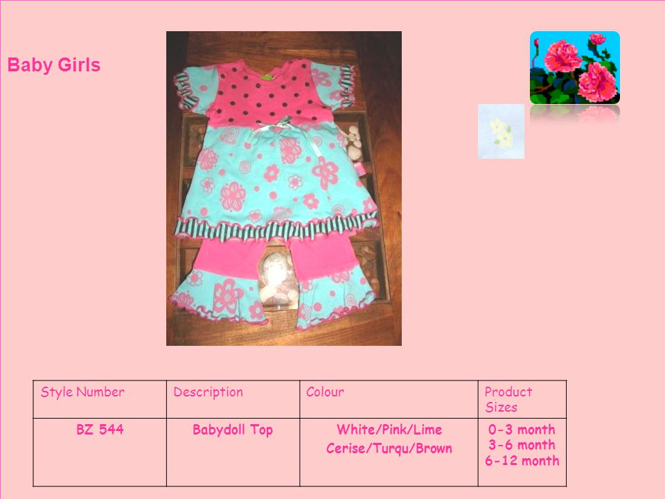 Style NumberDescriptionColourProduct Sizes BZ 545Plain LeggingsWhite/Pink/Lime Cerise/Turqu/Brown 12-18 month 18-24 month 24-36 month 3-4 years 4-5 years Baby Girls