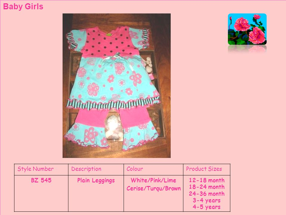 Style NumberDescriptionColourProduct Sizes BZ 552SundressWhite/Pink/Lime Cerise/Turqu/Brown Toddler Girls