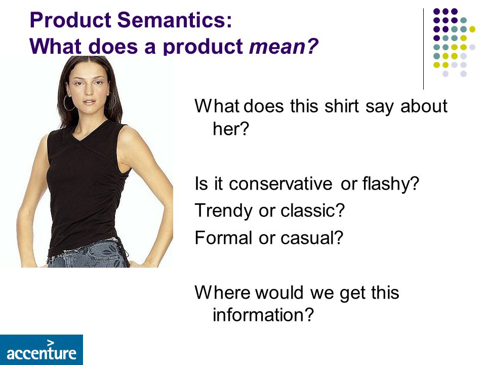 Product Semantics: What does a product mean. What does this shirt say about her.