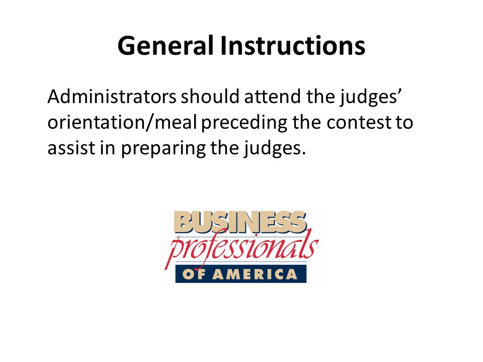 General Instructions Supplies in the contest box will include tests, scoring sheets, timing device, stapler/staples, paper clips, etc.