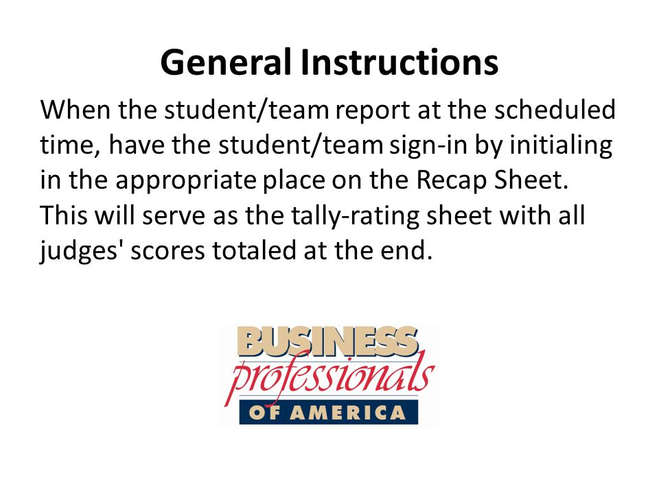 General Instructions Collect all contest materials.