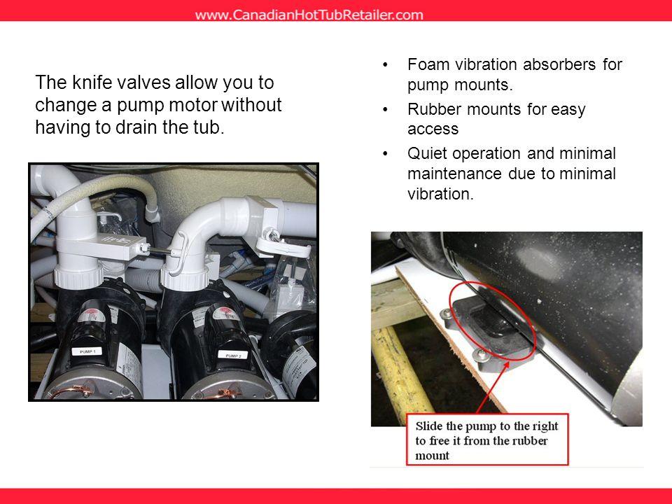 Foam vibration absorbers for pump mounts.