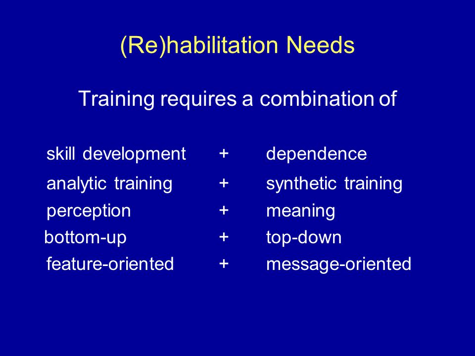 (Re)habilitation Needs Training requires a combination of skill development+dependence analytic training+synthetic training perception+meaning bottom-up+top-down feature-oriented+message-oriented