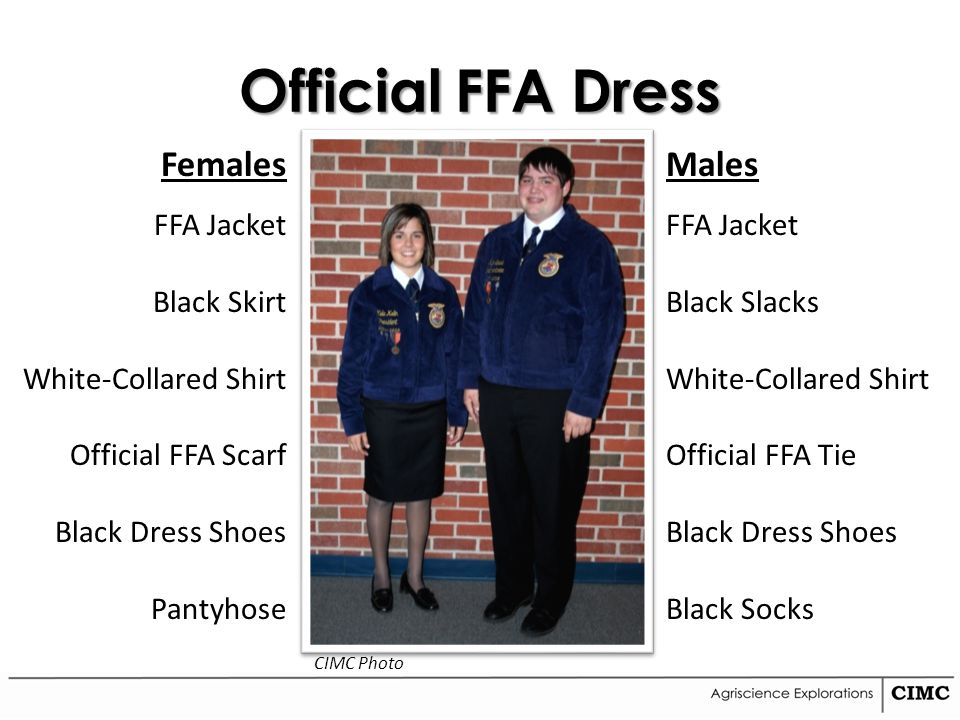 Official FFA Dress Females FFA Jacket Black Skirt White-Collared Shirt Official FFA Scarf Black Dress Shoes Pantyhose Males FFA Jacket Black Slacks Wh