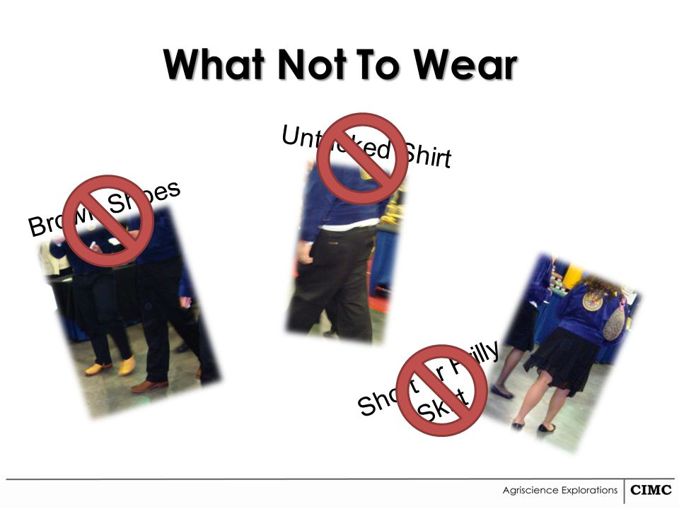 What Not To Wear Brown Shoes Untucked Shirt Short or Frilly Skirt