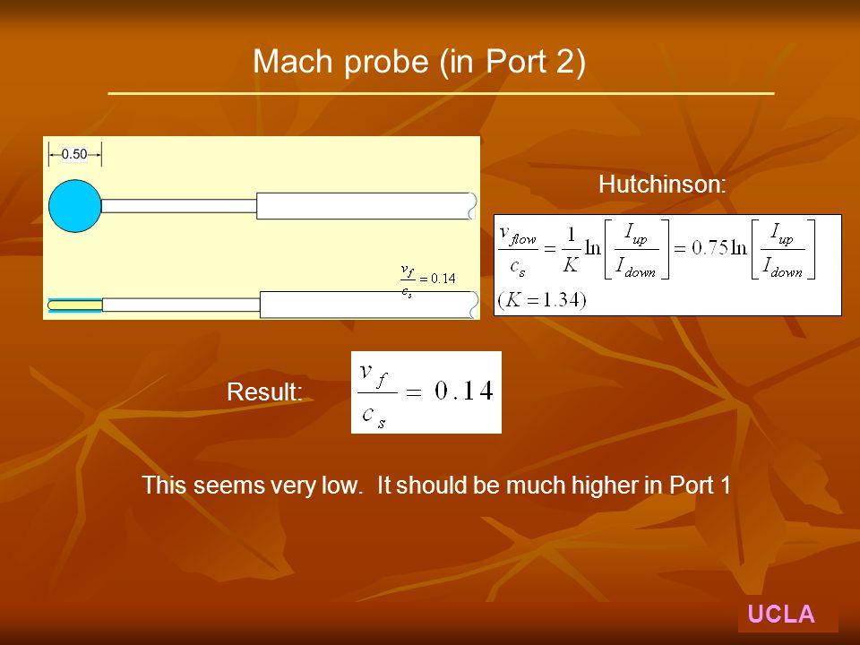 Mach probe (in Port 2) UCLA Hutchinson: Result: This seems very low. It should be much higher in Port 1