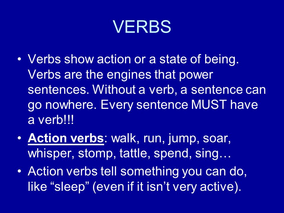 State-of-Being Verbs State-of-being verbs are the form of the verb be. Am, is, are, was, were, has been, will be and have been I am a good student.