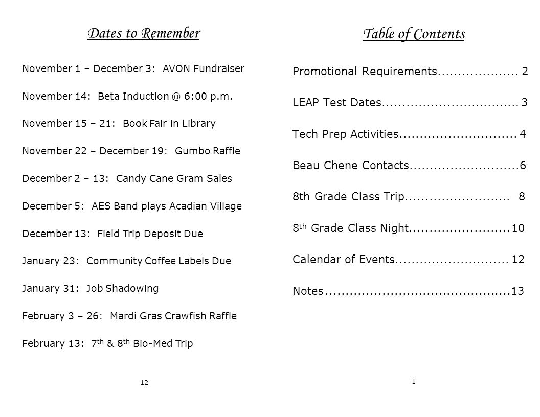 Table of Contents Promotional Requirements....................