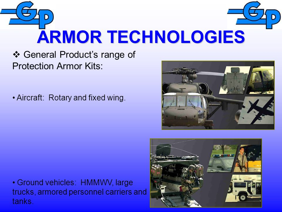 ARMOR TECHNOLOGIES  General Product's range of Protection Armor Kits: Aircraft: Rotary and fixed wing.