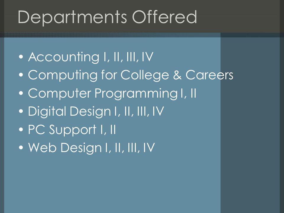 Departments Offered Accounting I, II, III, IV Computing for College & Careers Computer Programming I, II Digital Design I, II, III, IV PC Support I, II Web Design I, II, III, IV