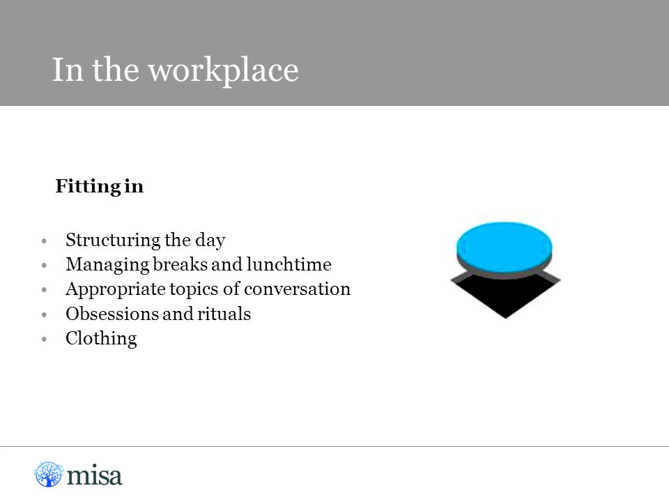 In the workplace Fitting in Structuring the day Managing breaks and lunchtime Appropriate topics of conversation Obsessions and rituals Clothing