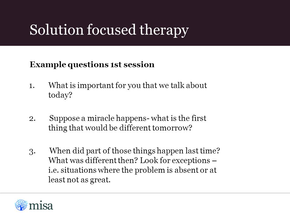 Example questions 1st session 1.What is important for you that we talk about today? 2. Suppose a miracle happens- what is the first thing that would b