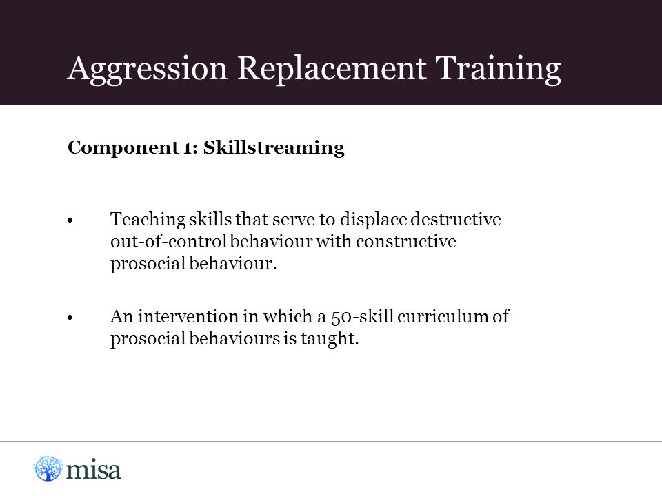 Component 1: Skillstreaming Teaching skills that serve to displace destructive out-of-control behaviour with constructive prosocial behaviour.