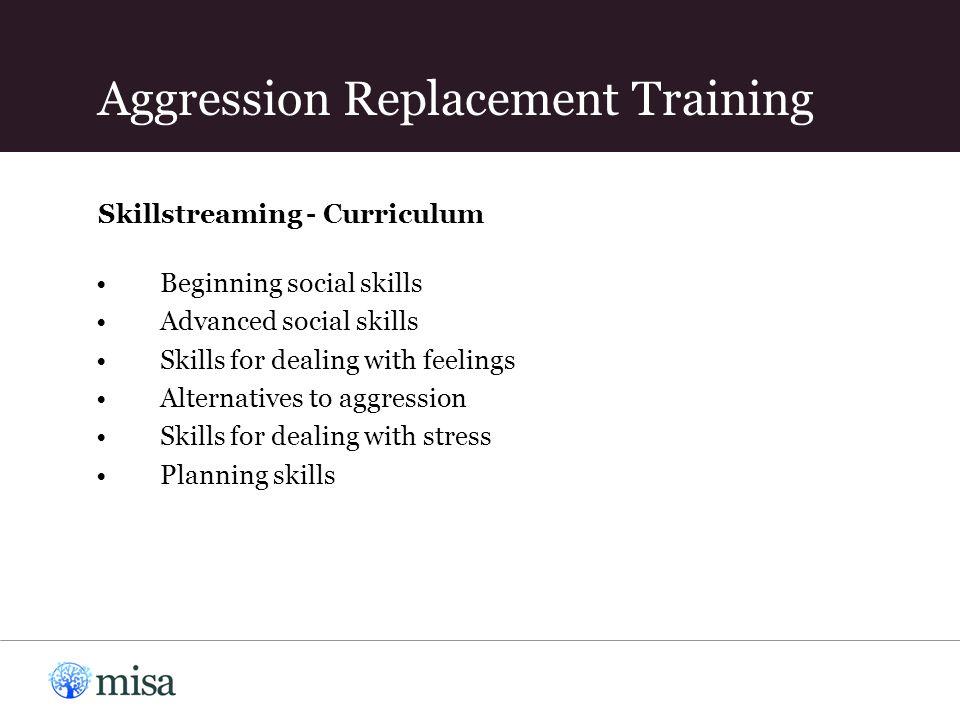 Skillstreaming - Curriculum Beginning social skills Advanced social skills Skills for dealing with feelings Alternatives to aggression Skills for dealing with stress Planning skills Aggression Replacement Training