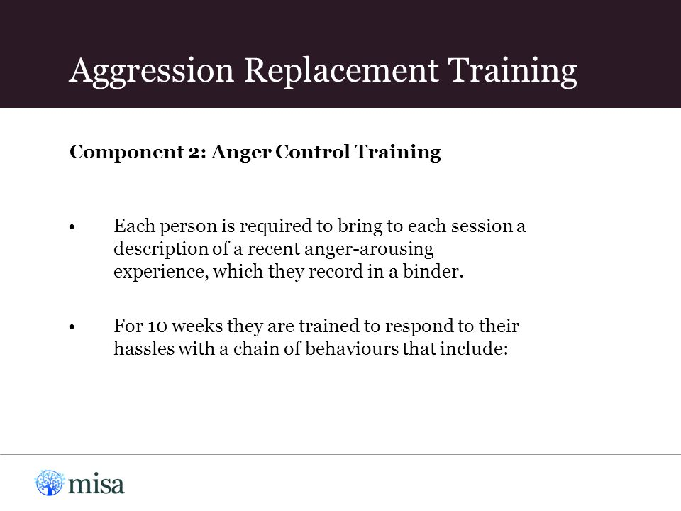 Component 2: Anger Control Training Each person is required to bring to each session a description of a recent anger-arousing experience, which they record in a binder.