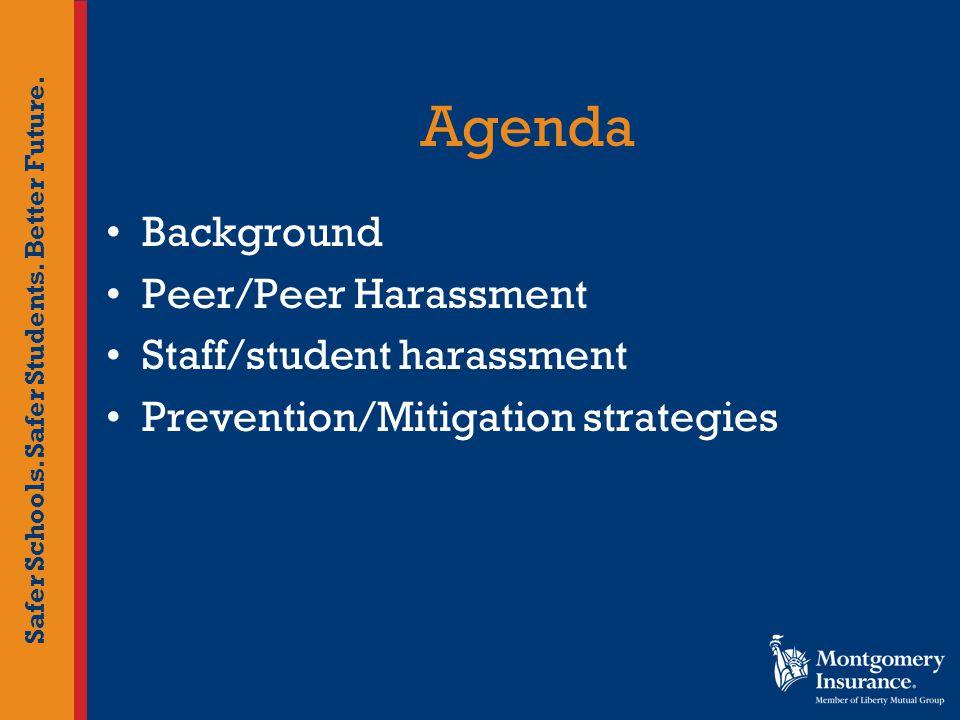 Safer Schools. Safer Students. Better Future. Agenda Background Peer/Peer Harassment Staff/student harassment Prevention/Mitigation strategies