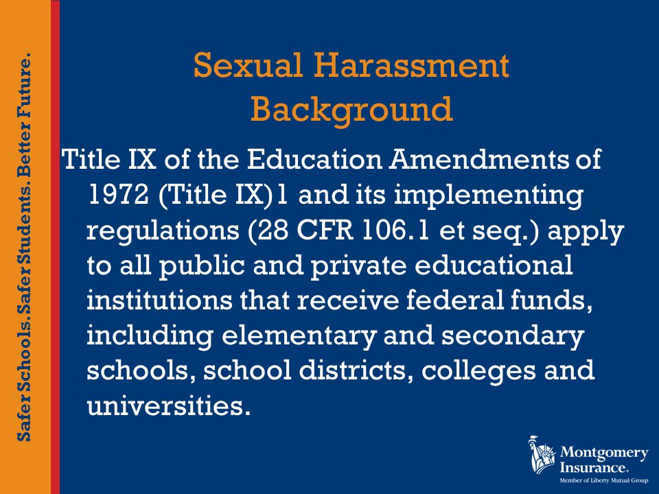 Safer Schools. Safer Students. Better Future. Sexual Harassment Background Title IX of the Education Amendments of 1972 (Title IX)1 and its implementi