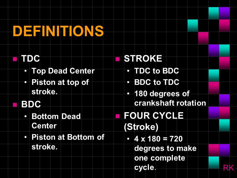 FOUR STROKE CYCLE n Intake Compression n Power n Exhaust RK