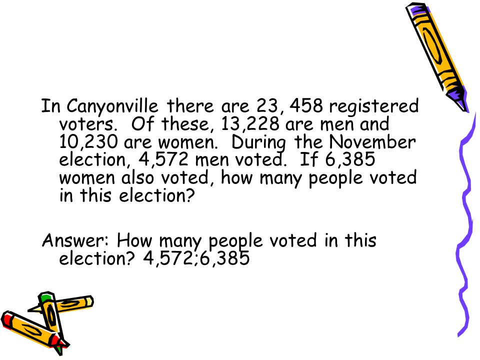 In Canyonville there are 23, 458 registered voters.