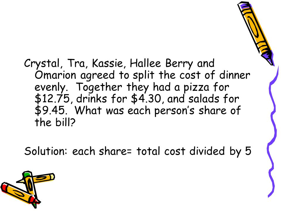 Crystal, Tra, Kassie, Hallee Berry and Omarion agreed to split the cost of dinner evenly.