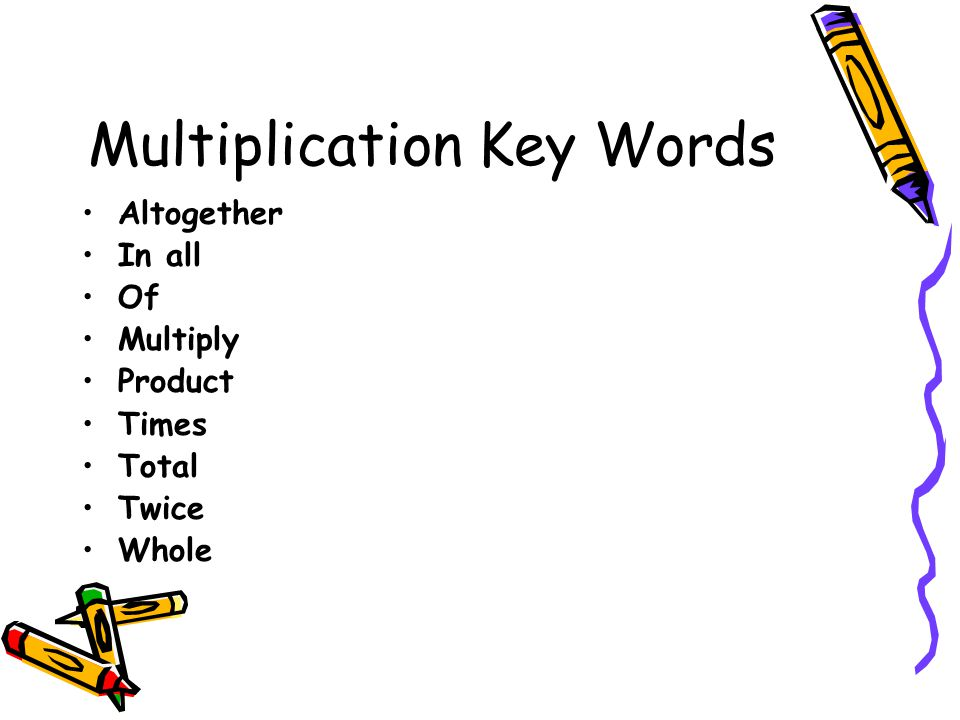 Multiplication Key Words Altogether In all Of Multiply Product Times Total Twice Whole