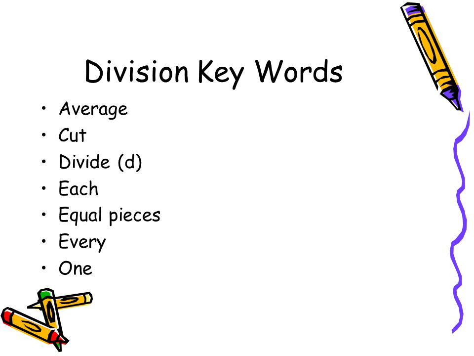 Division Key Words Average Cut Divide (d) Each Equal pieces Every One