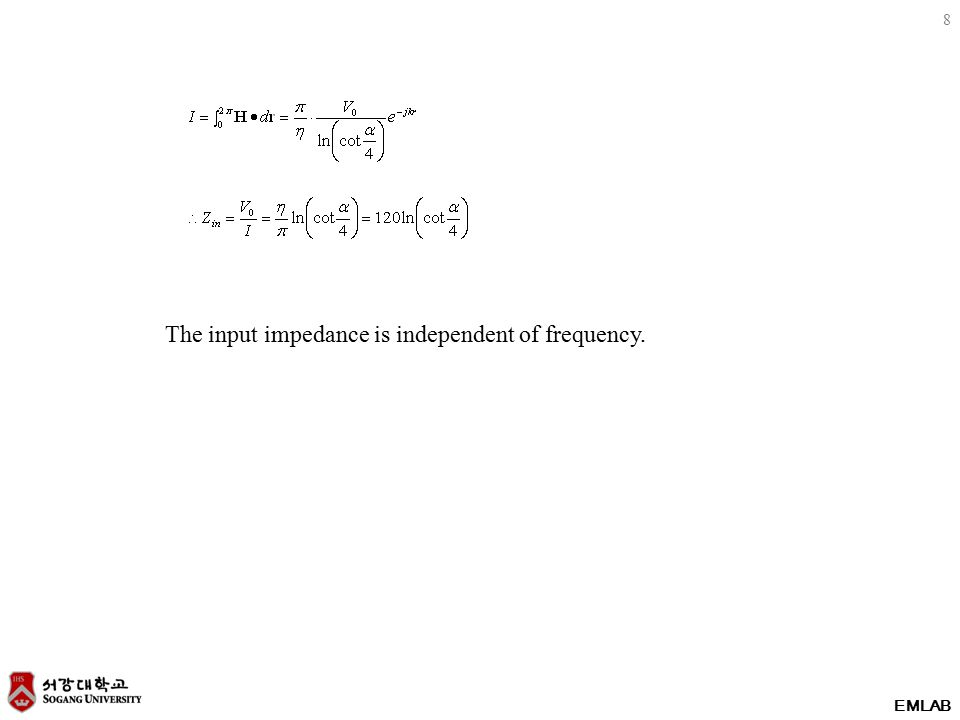 8 The input impedance is independent of frequency.