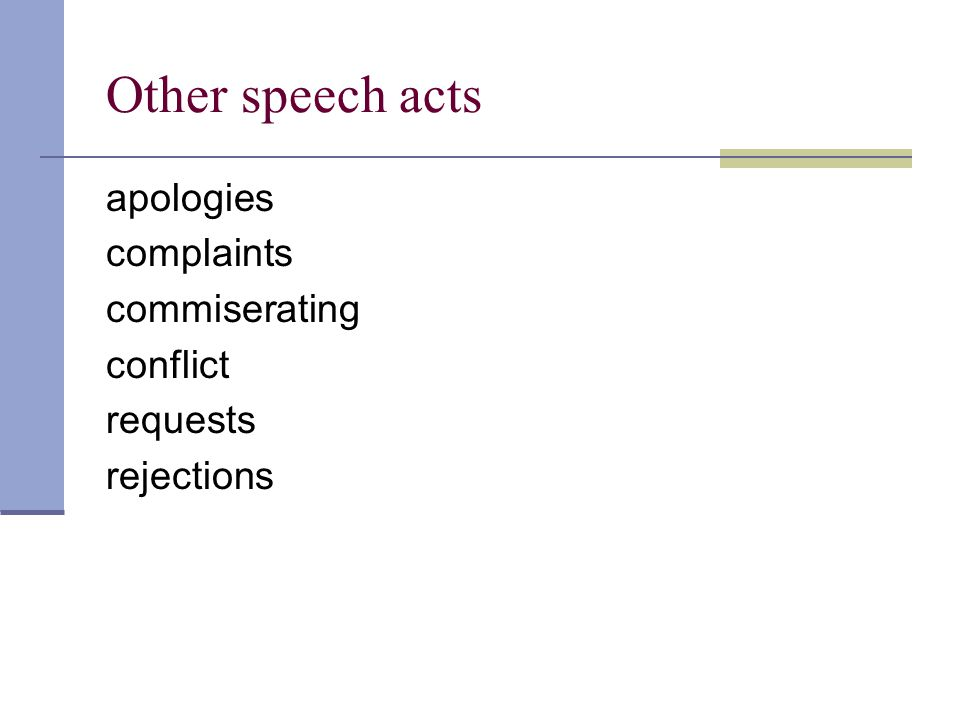 Other speech acts apologies complaints commiserating conflict requests rejections
