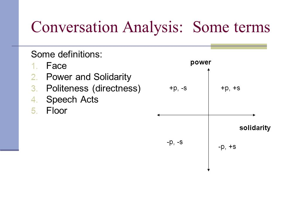 Conversation Analysis: Some terms Some definitions: 1.