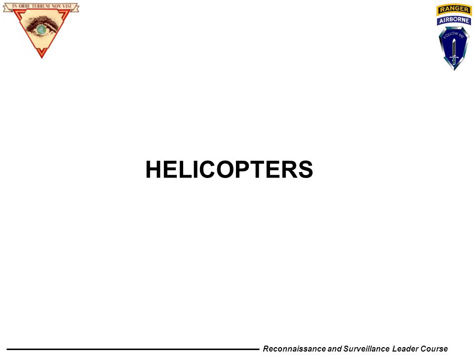 Reconnaissance and Surveillance Leader Course HELICOPTERS