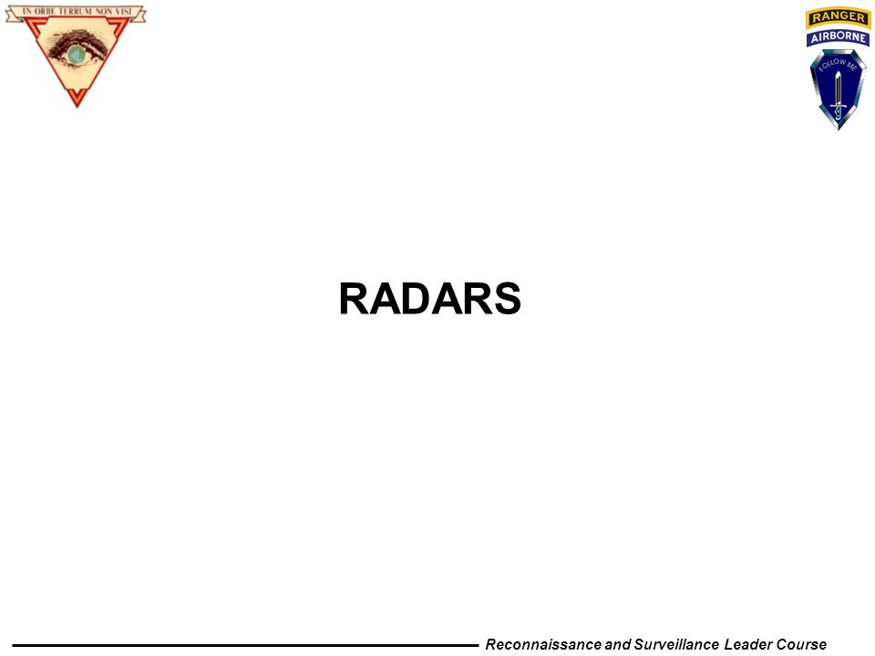 Reconnaissance and Surveillance Leader Course RADARS