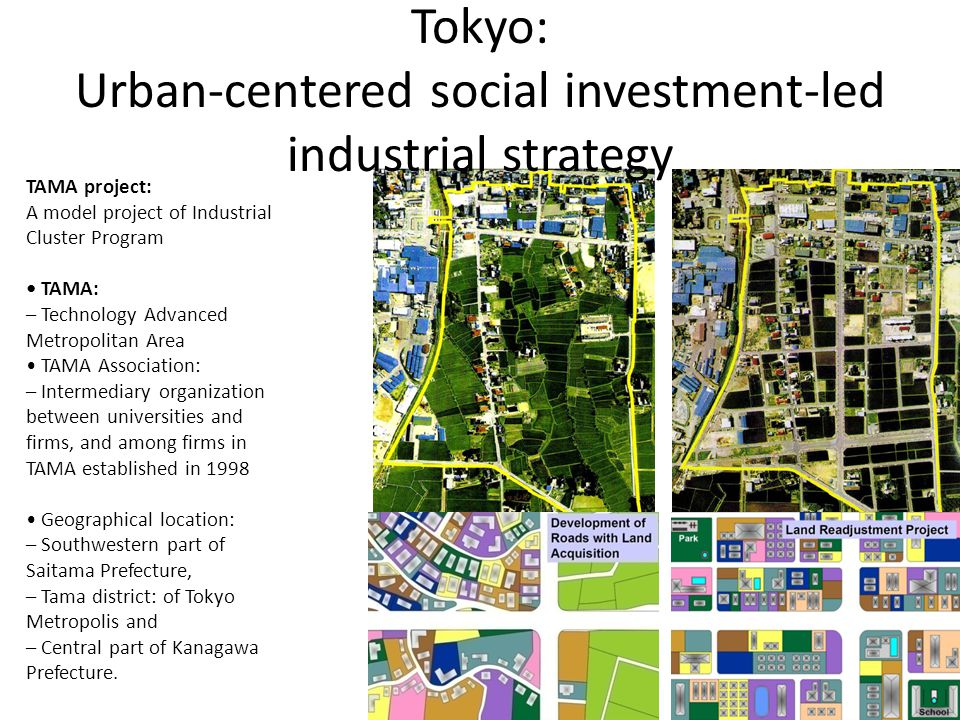 TAMA project: A model project of Industrial Cluster Program TAMA: – Technology Advanced Metropolitan Area TAMA Association: – Intermediary organization between universities and firms, and among firms in TAMA established in 1998 Geographical location: – Southwestern part of Saitama Prefecture, – Tama district: of Tokyo Metropolis and – Central part of Kanagawa Prefecture.