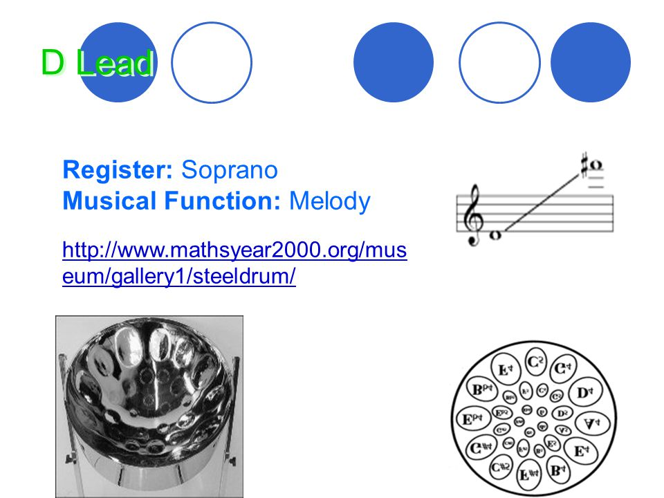 D Lead Register: Soprano Musical Function: Melody http://www.mathsyear2000.org/mus eum/gallery1/steeldrum/